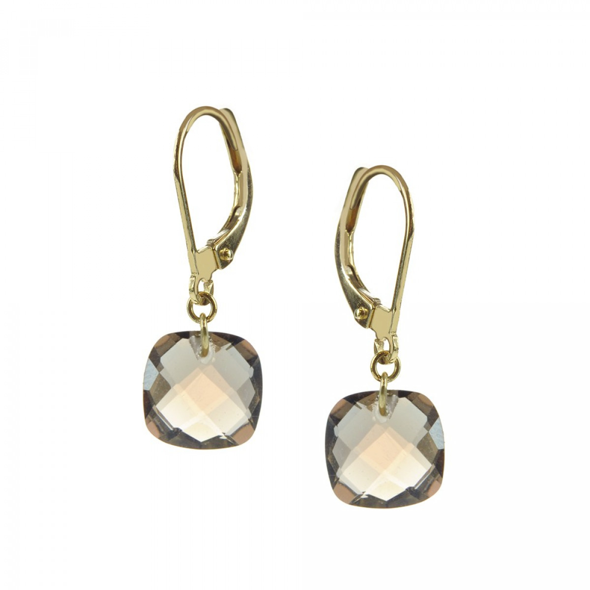 Earrings Yellow Gold And Quartz Smoked Bejewels